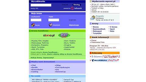 Arena.pl — efemeryczny portal, który przez jakiś czas był konkurentem Wirtualnej Polski