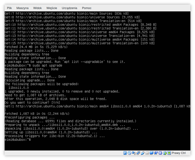 Przyjazny interfejs użytkownika Ubuntu 18.04 LTS