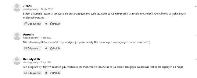 Wybrane komentarze użytkowników DP o VPlayerze w 2012 roku.