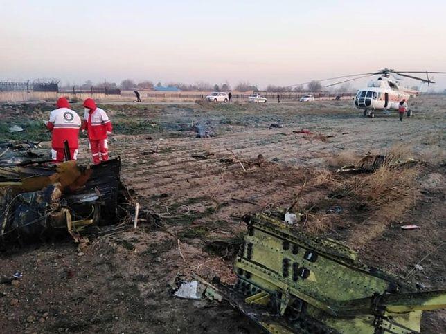 Zdjęcie z miejsca katastrofy samolotu ukraińskich linii lotniczych