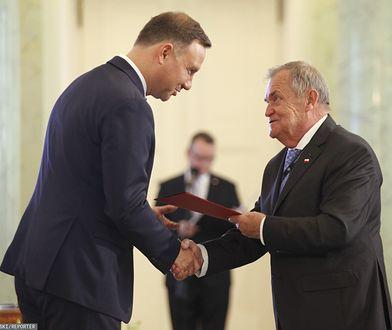 Wybory parlamentarne 2019. Prezydent Andrzej Duda z sędzią Wiesławem Johannem (zdj. arch.)