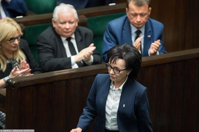 Sejm. Marszałek Sejmu Elżbieta Witek, w tle m.in. Jarosław Kaczyński