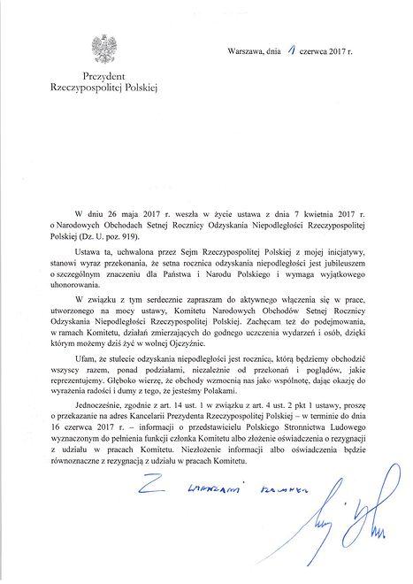 List prezydenta do liderów partii
