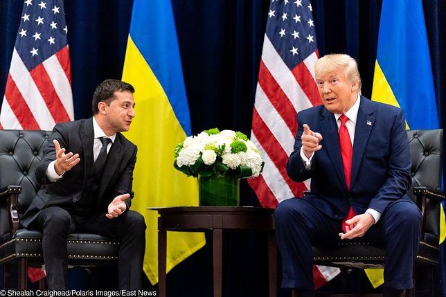 Wołodymyr Zełenski na spotkaniu z Donaldem Trumpem w Nowym Jorku 25 września