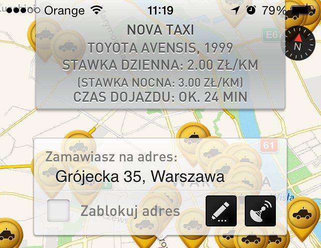 Informacje o zamawianej taksówce