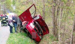 Kierowca wjechał do rowu po tym, jak na jego busa spadło drzewo