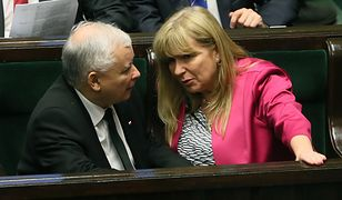 Wybory parlamentarne 2019. Prezes PiS Jarosław Kaczyński i wicemarszałek Sejmu Małgorzata Gosiewska