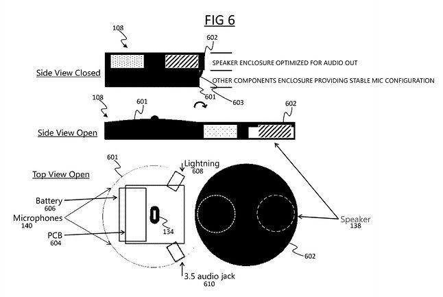 Urządzenie miałoby zostać wyposażone w mikrofon, głośnik i złącze minijack, fot. zgłoszenie patentowe Microsoftu.