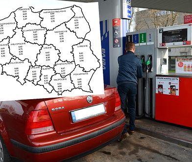 Ceny paliw różnią się w zależności od województwa.