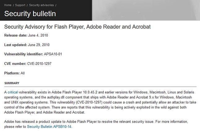 Adobe przepraszał za roczne opóźnienie w naprawie Playera