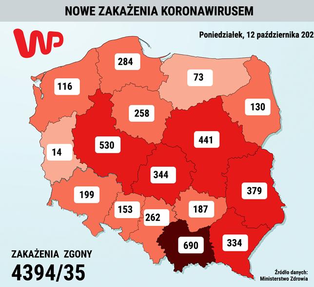 Nowe przypadki zakażenia w województwach