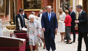 Królowa Elżbieta i prezydent Trump w Buckingham Palace Picture Gallery