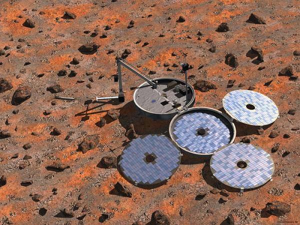 Artystyczna wizja lądownika Beagle 2 na powierzchni Marsa