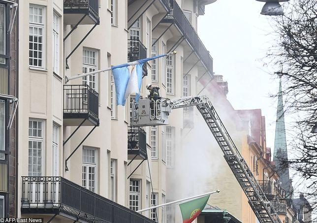 Pożar w wielorodzinnym budynku w Sztokholmie