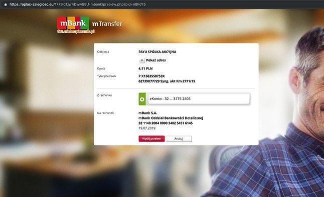 Fałszywa formatka przelewu w podrobionej bankowości internetowej mBanku, źródło: Niebezpiecznik.