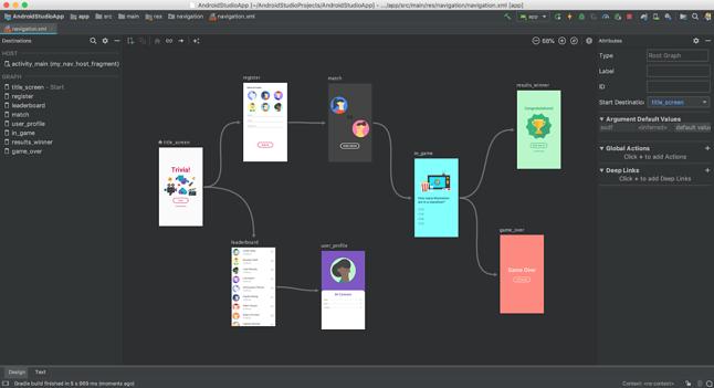Edytor ułatwiający ustawianie nawigacji pomiędzy kolejnymi ekranami aplikacji, źródło: blog Android Developers.