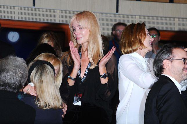 Agnieszka Woźniak-Starak na premierze filmu zmarłego męża