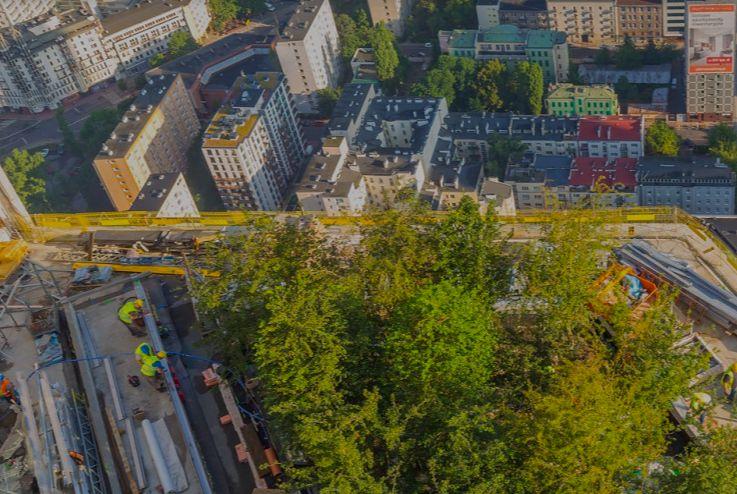 Warszawa. Najwyższe zielone punkty w stolicy powstają na tarasach Varso Tower. Sześciometrowe drzewa wjechały na linach, wciągane przez żurawie budowlane (HB Reavis)