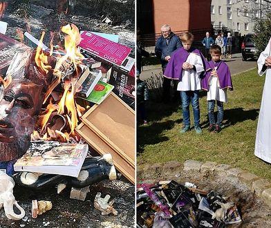 31 marca. Gdańsk. Ks. Rafał Jaroszewicz modli się nad stosem spalonych książek