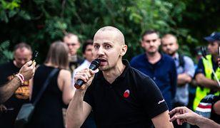 Jacek Międlar na demonstracji narodowców