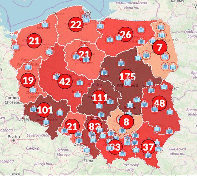 Mapa zarażeń w Polsce