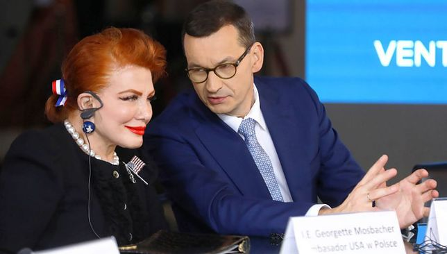 Georgette Mosbacher i Mateusz Morawiecki