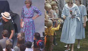 Emma Corrin w 2019 w Hiszpanii i księżna Diana w 1983 roku w Australii