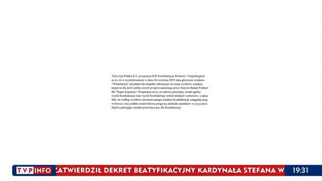 """Konfederacja wygrała proces w trybie wyborczym z """"Wiadomościami"""" TVP. Oto sprostowanie"""