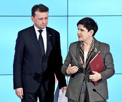 Szef MSWiA Mariusz Błaszczak i premier Beata Szydło