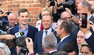 Donald Tusk przemawia na Rynku w Krakowie