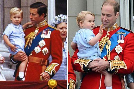 Książę Karol z synem, książę William z synem