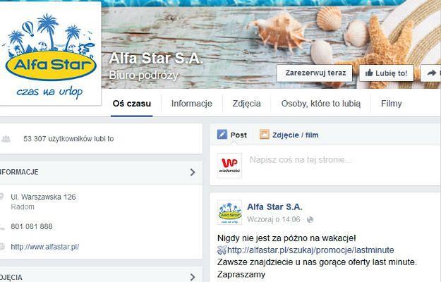 """Jeszcze w piątek na Facebooku Alfa Star oferowało wyjazdy """"last minute"""""""