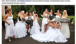 Druhny w białych sukienkach na ślubie gejów