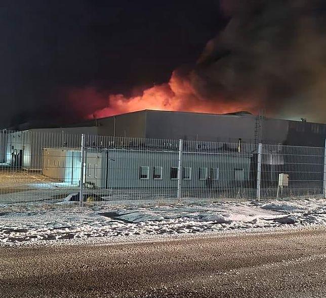 Pożar w Białej Rawskiej wybuchł w piątek. Płonie hala do przechowywania owoców. Źródło: KSRG OSP Biała Rawska