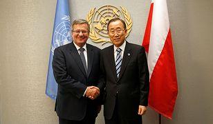 Prezydent Bronisław Komorowski z sekretarzem generalnym ONZ Ban Ki Munem