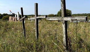 IPN: odnaleziono i zidentyfikowano ofiary UPA. Na zdj. krzyże przy pomniku upamiętniającym ofiary rzezi Polaków w Hucie Pieniackiej na Ukrainie