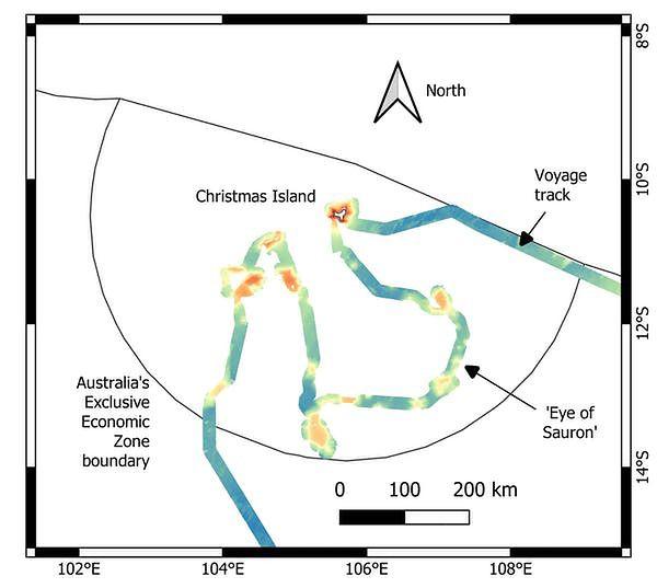 Trasa ekspedycji z zaznaczonymi nowymi odkryciami.