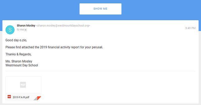 Przykładowa, spreparowana wiadomość e-mail i szkodliwy załącznik. Zrzut ekranu z quizu przygotowanego przez Google.