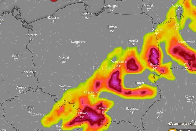 Pogoda. Mapa: burze we wtorek nad ranem