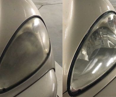 """Z lewej """"zamglony"""" reflektor. Z prawej czysty."""