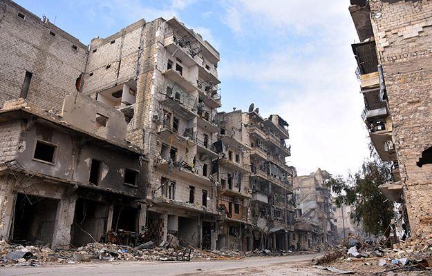 Zrujnowane budynki w Aleppo