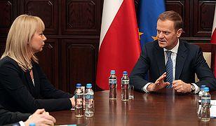 Spotkanie premiera Donalda Tuska z minister rozwoju regionalnego Elżbietą Bieńkowską.