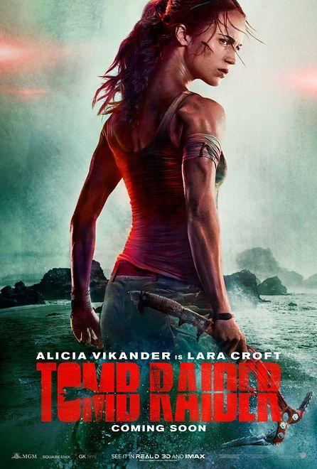 """Plakat filmu """"Tomb Raider"""" z Alicią Vikander w roli głównej"""