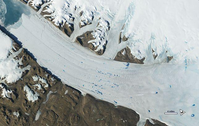 Na powierzchni lodowca Petermann na Grenlandii powstają jeziora, widoczne na zdjęciu z czerwca 2019 r.