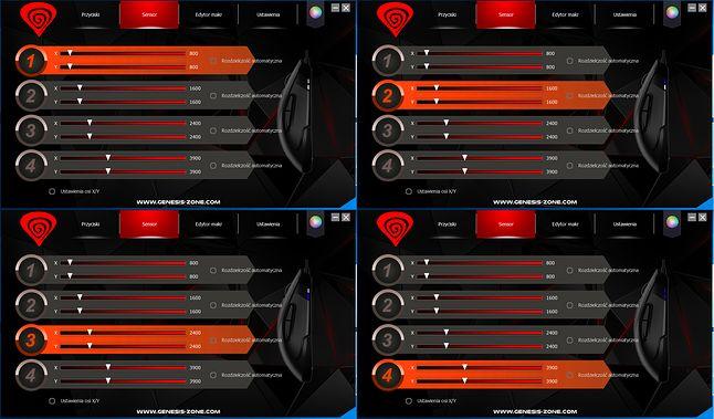 Genesis Krypton 800 Gaming Software - zmiany poziomów DPI i ich odwzorowanie w diodach