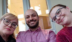 Od lewej Magdalena Adamowicz, Mohamad Atoun z Ligi Muzułmańskiej oraz Patrycja Krzymińska