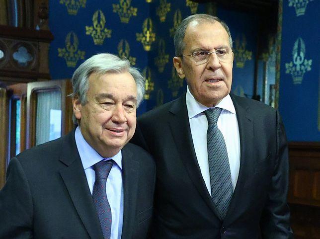Sekretarz Generalny ONZ Antonio Gutteres oraz rosyjski szef MSZ Sergiej Ławrow