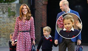 Księżniczka Charlotte poszła do szkoły. Odprowadzili ją Kate Middleton i książę William
