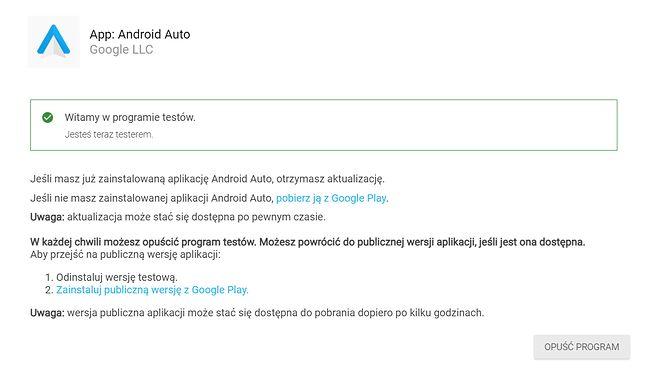 Android Auto - potwierdzenie dołączenia do testów beta