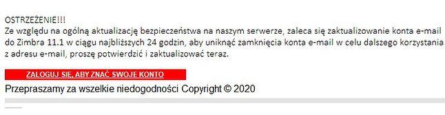 Fragment fałszywej wiadomości, źródło: Polska Policja.